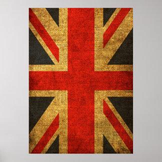 英国国旗素朴で旧式なパターン ポスター