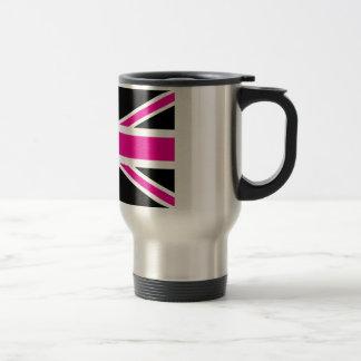 英国国旗黒く、ピンクのクラシックなイギリス(イギリス)の旗 トラベルマグ