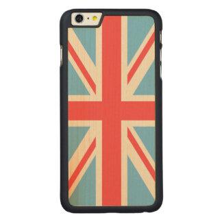 英国旗かジャックのデザインのクリーム、淡いブルー及び赤い CarvedメープルiPhone 6 PLUS スリムケース