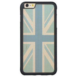 英国旗かジャックのデザインの青 CarvedメープルiPhone 6 PLUSバンパーケース
