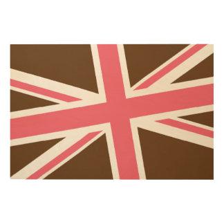 英国旗の木製の印36x24 (チョコレートかピンク) ウッドウォールアート