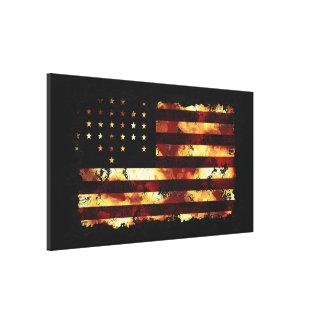 英国旗、内戦、星条旗、米国 キャンバスプリント
