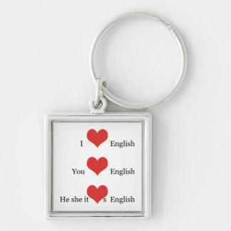 英語の先生のギフトTESOL ESLはI英語を愛します キーホルダー