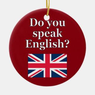 """""""英語を話しますか。""""英語で。 旗 セラミックオーナメント"""