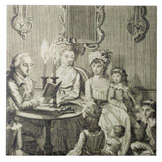 英語キャンドルライトによって彼の家族に読んでいる父 タイル