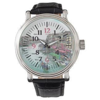 英語-スペイン語数字の二か国語のベニスイタリア 腕時計