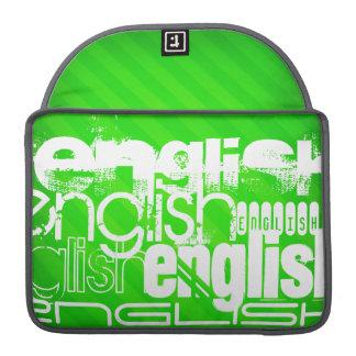 英語; ネオン緑のストライプ MacBook PROスリーブ