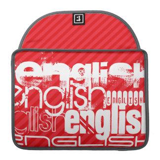 英語; 深紅の赤のストライプ MacBook PROスリーブ