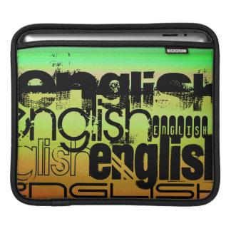 英語; 鮮やかな緑、オレンジ、及び黄色 iPadスリーブ