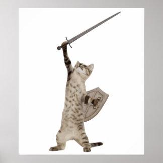英雄的な戦士の騎士猫 ポスター