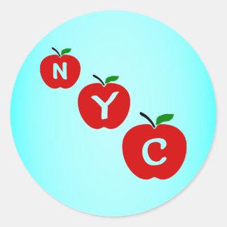 茎および葉が付いているNYC 3の赤いりんご ラウンドシール