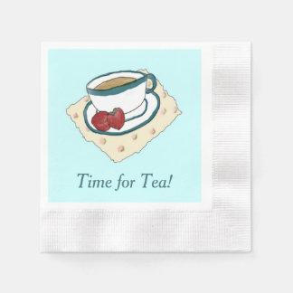 茶およびいちごの水彩画の絵画のナプキン 縁ありカクテルナプキン