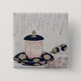茶および鍵1822年のポット 5.1CM 正方形バッジ