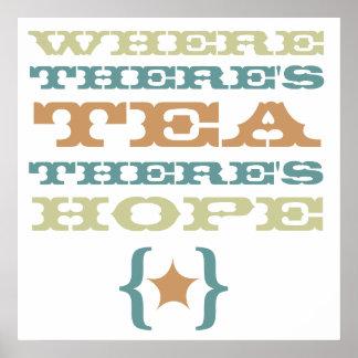 茶がある一方、希望の大きいポスターがあります ポスター