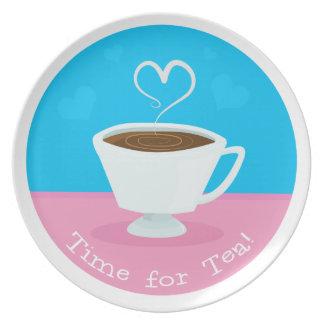 茶ハートのティーカップの時間 プレート