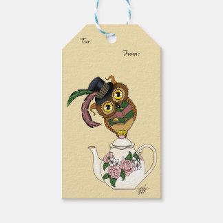 茶ポットのフクロウ ギフトタグ