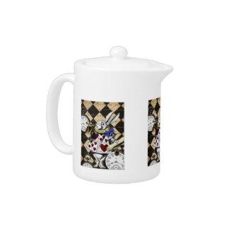 茶ポット-白いウサギ、不思議の国のアリス