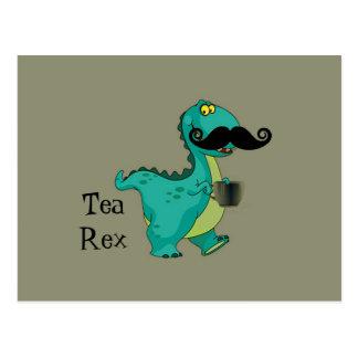 茶レックスのおもしろいな恐竜の漫画のほのめかし ポストカード