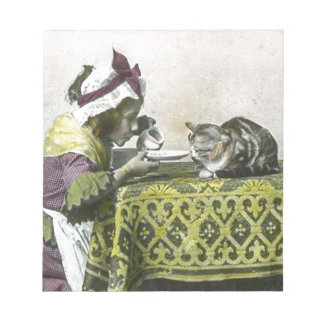 茶子猫のヴィンテージのビクトリアンなお茶会のための私を結合して下さい ノートパッド