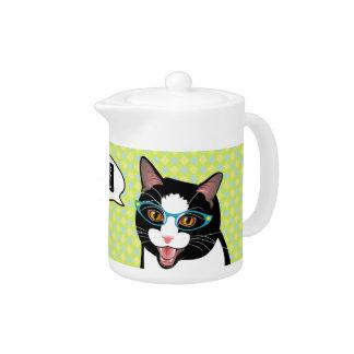 茶日本のな喜劇的なタキシード猫の時間