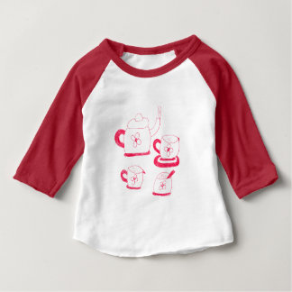 茶時間アメリカの服装3/4SleeveのRaglanのTシャツ ベビーTシャツ