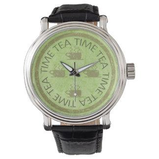 茶時間緑 腕時計