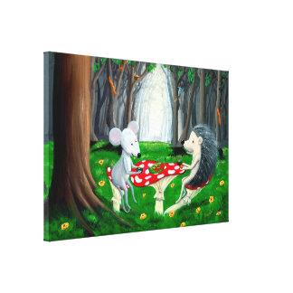 茶時間|マウス及びハリネズミ|の森林養樹園 キャンバスプリント