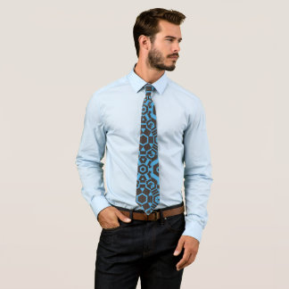 茶色および青写真のタイ ネクタイ