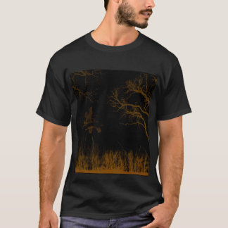 茶色がかった薄いオレンジ色の景色、木、草、鳥 Tシャツ