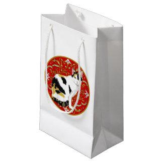 茶色のぶち猫のバロック スモールペーパーバッグ