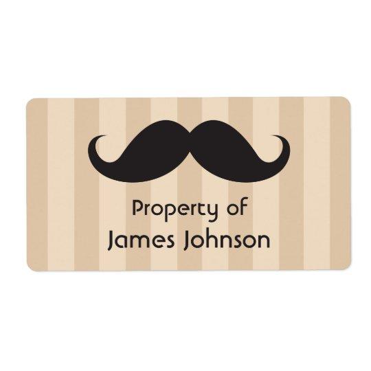 茶色のストライブ柄の特性のラベルの黒い髭 ラベル