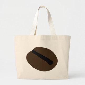 茶色のブラックコーヒーの豆 ラージトートバッグ