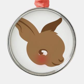 茶色のベビーのウサギの顔 メタルオーナメント