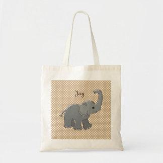 茶色のベビーシャワー象 トートバッグ