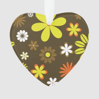 茶色のレトロの黄色およびオレンジ花 オーナメント