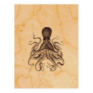 茶色のヴィンテージのタコのイラストレーション ポストカード