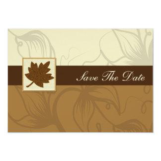 茶色の秋の結婚式のセーブ・ザ・デート案内 カード