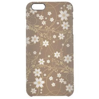 茶色の背景の花そして生命渦巻の芸術 クリア iPhone 6 PLUSケース
