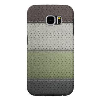 茶色の黒い緑の白革材料の質感 SAMSUNG GALAXY S6 ケース