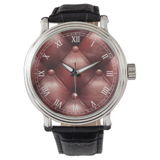 茶色パターン革皮 腕時計