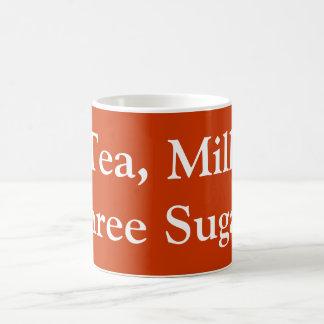 茶、ミルク、3つの砂糖 コーヒーマグカップ
