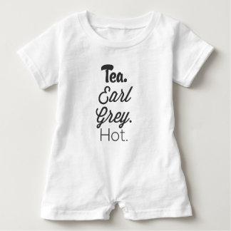 茶-伯爵の灰色の熱い ベビーロンパース