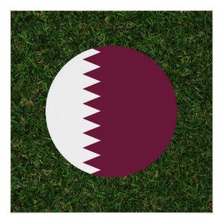 草のカタールの旗 ポスター