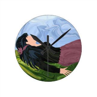 草のベッドからの夢 ラウンド壁時計