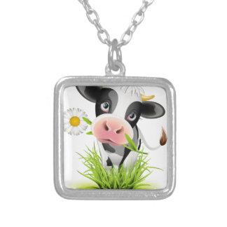 草のホルスタイン牛 シルバープレートネックレス