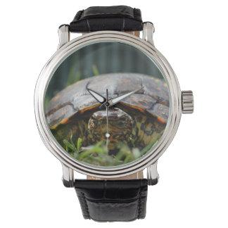 草の彼のレベルの華美な木製のカメ 腕時計