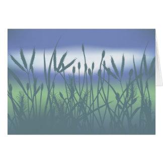 草原のメッセージカードの霧深い朝 カード