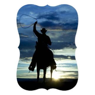 草原の乗馬ロープのカウボーイ カード
