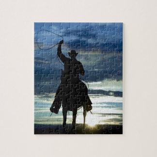 草原の乗馬ロープのカウボーイ ジグソーパズル