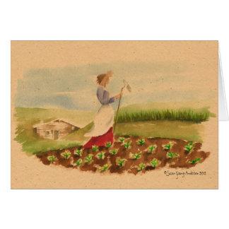 草原の女性の挨拶状 カード